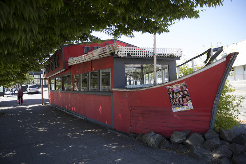 MF_Pho10: A Pho Bac location is shown on Tuesday, August 15, 2017,  on S. Jackson St., in Seattle. Yenvy Pham's family built the structure for the restaurant from a mayfair parade float. KUOW Photo/Megan Farmer