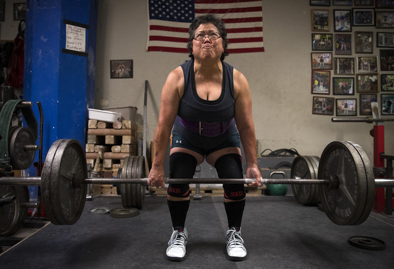 Alma Kimura, 63, powerlifts at Seattle Strength and Power on 3rd Ave., in Seattle. Kimura started powerlifting at age 58.
