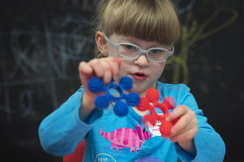 Lillian Rockett, 4, plays on Sunday, October 1, 2017, at We Rock the Spectrum Kid's Gym in Bellevue.
