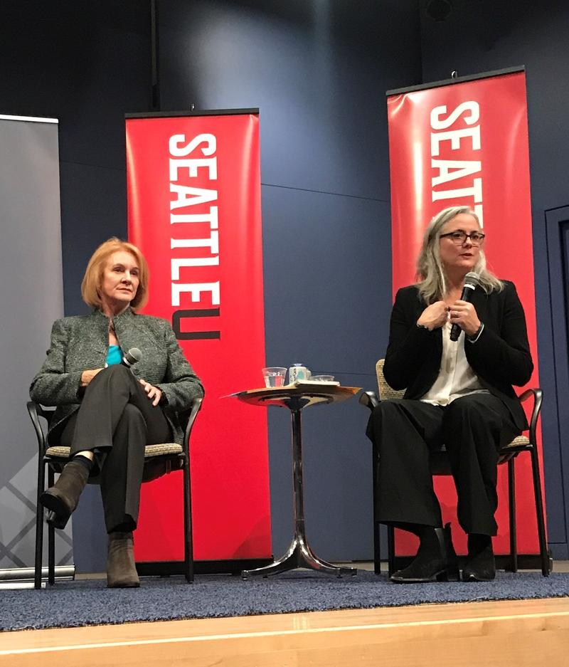 Mayoral candidates Jenny Durkan and Cary Moon at Seattle University