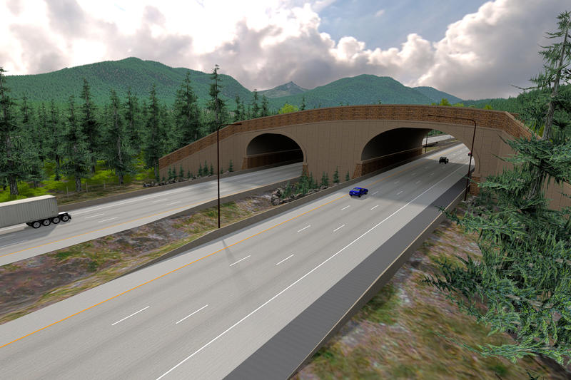 A drawing of what the Prince Creek Animal Overcrossing will look like on I-90. The project is expected to be completed in the fall of 2019.