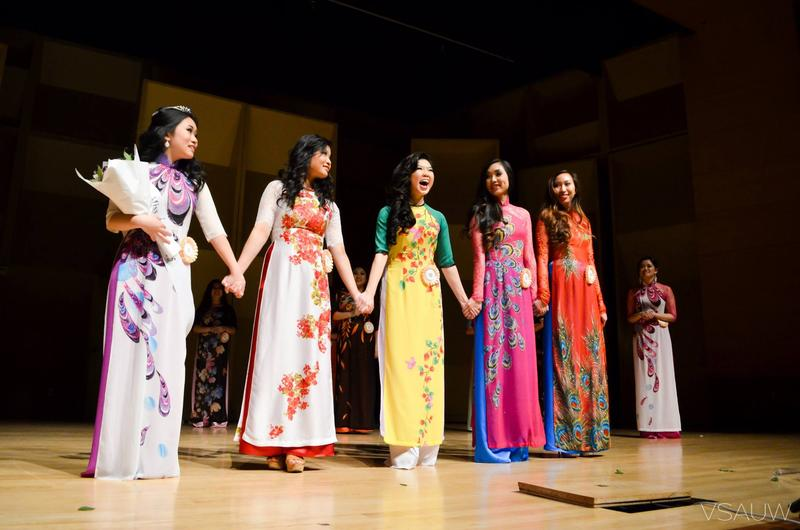 Contestants wait to hear results of the Miss Hoa Khoi Lien Truong 2015 contest