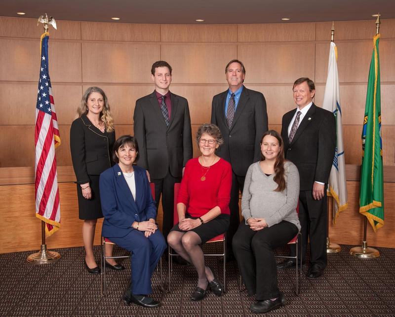 The Burien City Council, 2017. (Back row) Councilmember Debi Wagner, Councilmember Austin Bell, Councilmember Stephen Armstrong, Councilmember Bob Edgar. (Front row) Mayor Lucy Krakowiak, Deputy Mayor Nancy Tosta, Councilmember Lauren Berkowitz.