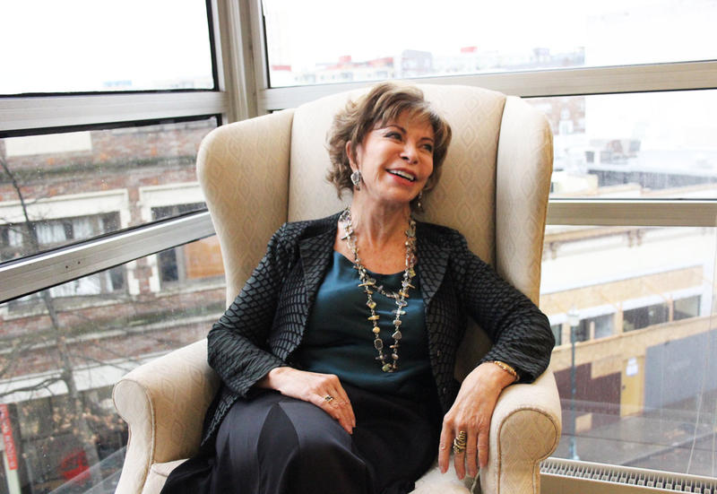 Author Isabel Allende in the KUOW studios on Tuesday, November 28th.