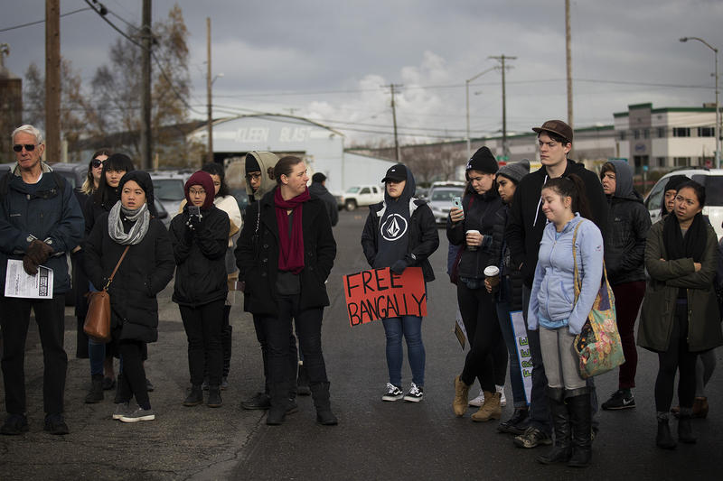 University of Washington students participate in a teach-in on Wednesday, November 29, 2017, outside of the Northwest Detention Center in Tacoma.