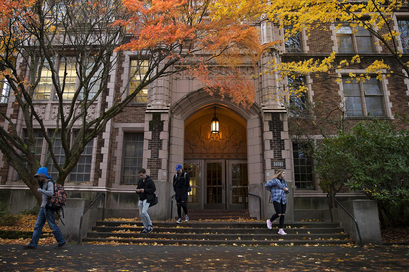 Students leave Thomson Hall and the Jackson School of International Studies, where Fatty was enrolled, on Thursday, November 16, 2017, at the University of Washington campus in Seattle.