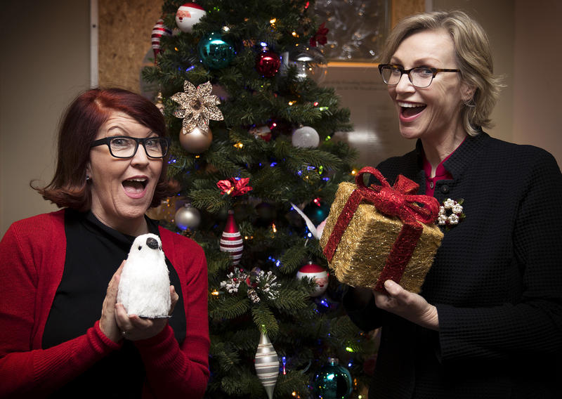 Kate Flannery, Jane Lynch and the KUOW Christmas Tree.