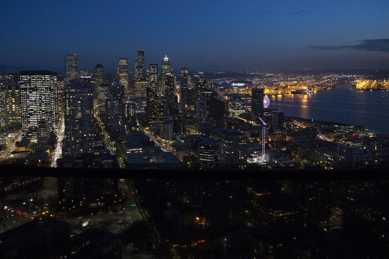 A view of downtown Seattle is shown from the suspended scaffolding below the new rotating restaurant at the Space Needle on Monday, November 6, 2017, in Seattle.