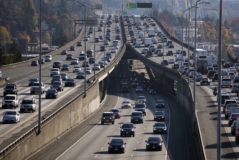 Traffic is seen on I-5 from 45th St., on Friday, October 27, 2017, in Seattle.