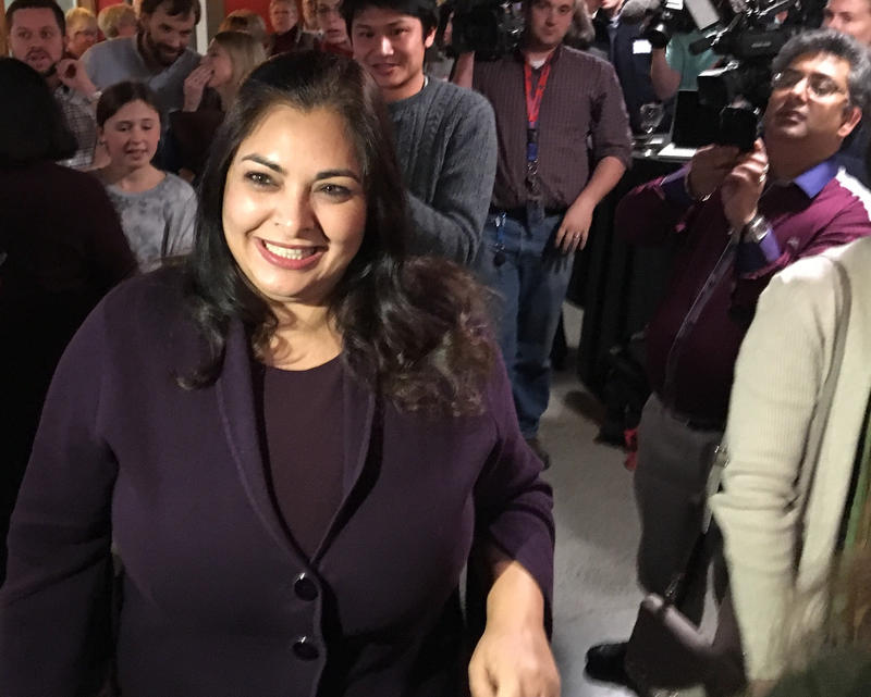 Manka Dhingra greets supporters at her Election Night party on Tuesday, November 7, 2017.