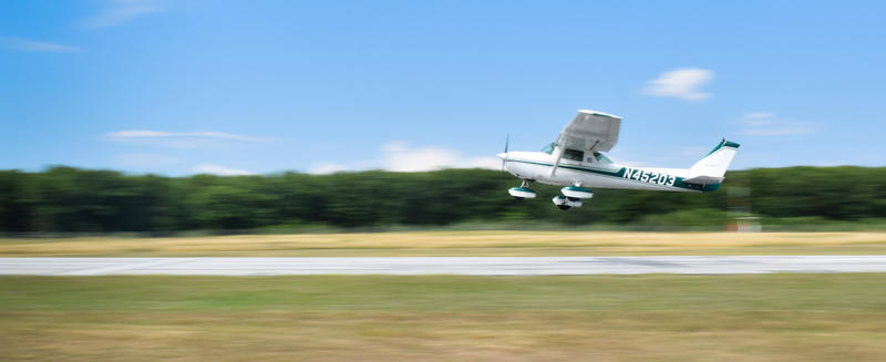 A private pilot takes off at Franklin County State Airport in Vermont.