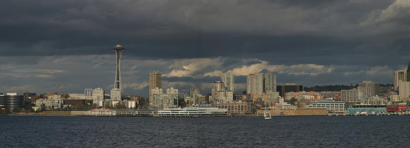 The Seattle skyline, seen across the water.
