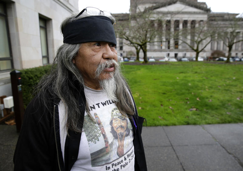 Rick Williams, brother of John T. Williams, who was shot and killed by a Seattle Police officer in 2010, after he testified at a House committee hearing in Olympia, Wash. in 2016, for a bill that would make it easier to charge police officers with crimes.