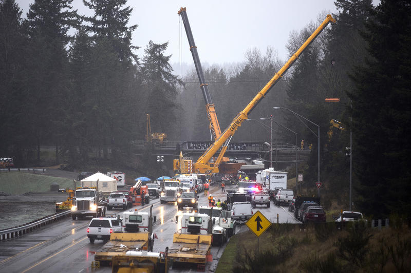 The scene of the fatal Amtrak derailment is shown on Tuesday, December 19, 2017, in Dupont.