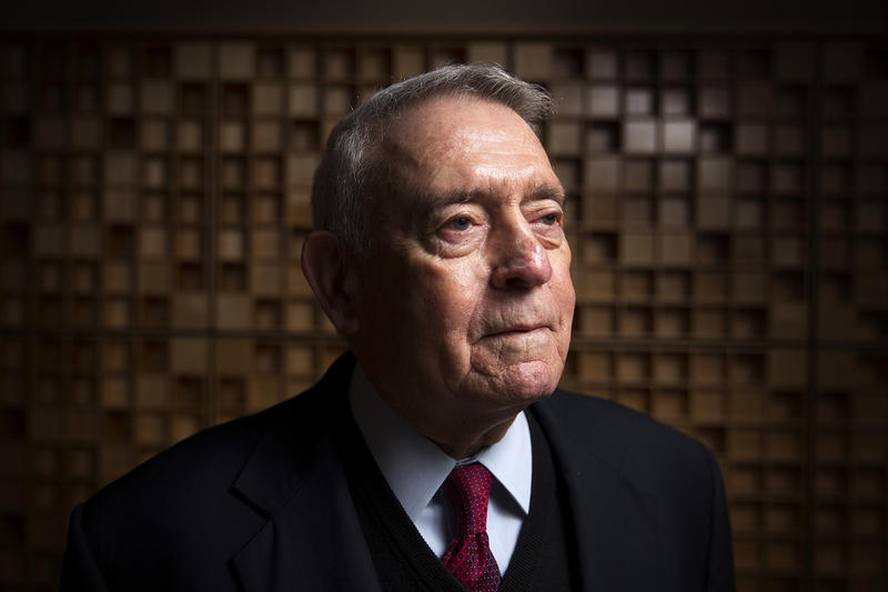 Reporter, broadcaster, and author Dan Rather in the KUOW studios on December 8, 2017.