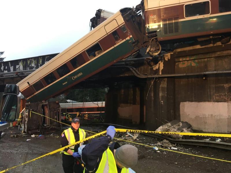 An Amtrak train derailed near Dupont, WA on Monday, December 18, 2017