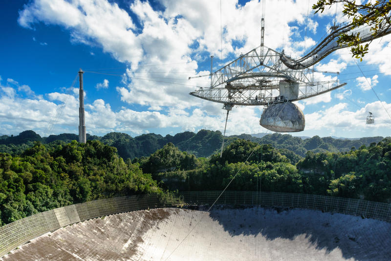 The Arecibo Observatory in Puerto Rico where astronomers picked up radio bursts from space