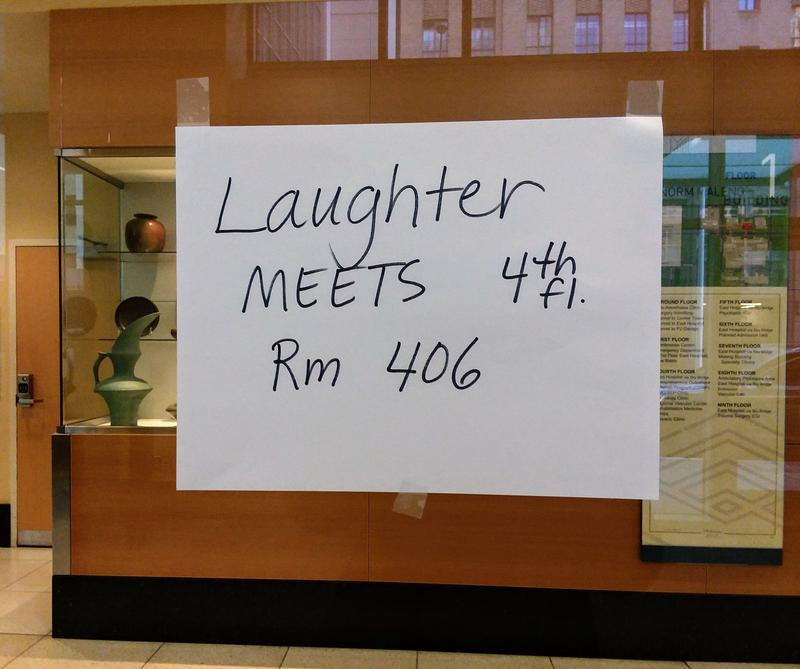 The Laughter Club attracts about a dozen patients and staff to their bimonthly meetings.