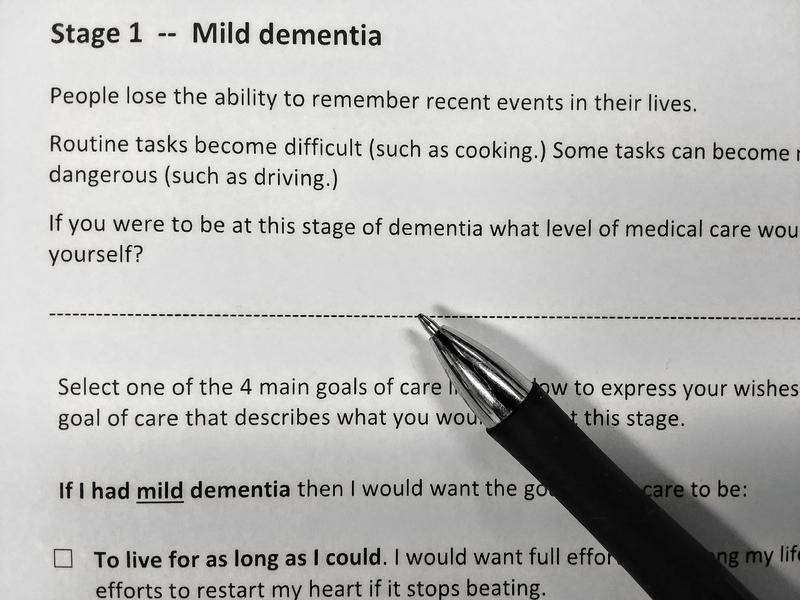This advance directive covers treatment options at each stage of dementia.