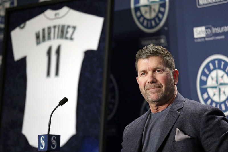Seattle Mariners former designated hitter Edgar Martinez speaks at a news conference announcing the retirement by the team of his jersey number 11, Tuesday, Jan. 24, 2017, in Seattle.