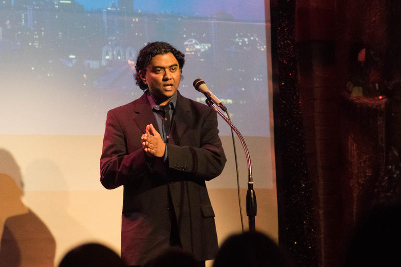"Michael Perera speaking at a ""Why We Stayed Here"" event at Theatre Off Jackson on January 17, 2018."