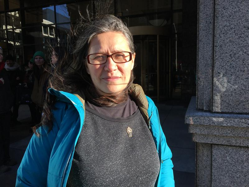 Maru Mora-Villalpando outside the Seattle Immigration Court, following a news conference about her case.