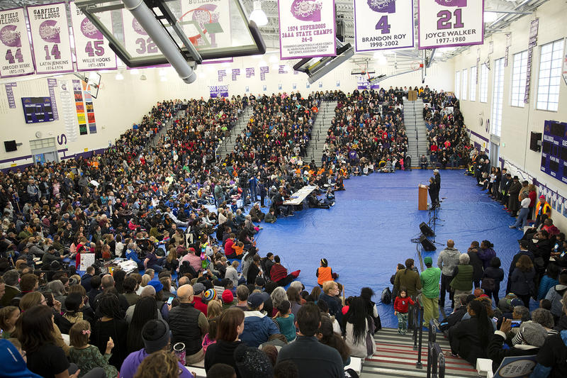 A rally takes place at Garfield high school before the annual Martin Luther King Jr. Day march on Monday, January 15, 2018, in Seattle.
