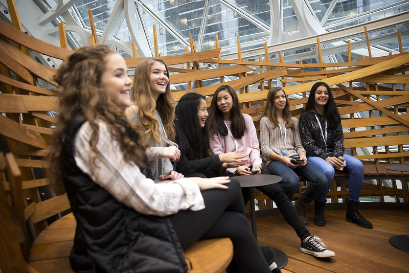 Environmental & Adventure school 7th and 8th graders with the Lake Washington school district sit in a bird cage during the Amazon spheres grand opening in Seattle. The students planted the first tree inside the spheres in May, an Australian tree fern.