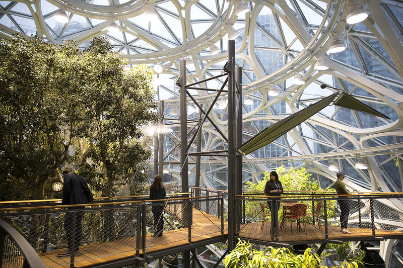Guests walk through the spheres on Monday, January 29, 2018, during the Amazon spheres grand opening in Seattle.