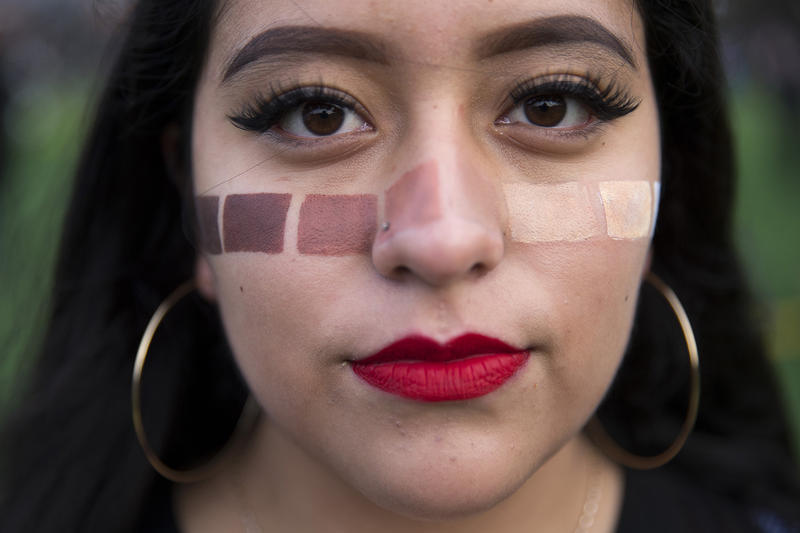 Sofia Larrondo, 16, attends the rally at Cal Anderson Park before the Women's March on Saturday, January 20, 2018, in Seattle.