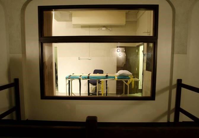 The execution chamber at Washington State Penitentiary where the state's last execution was performed.