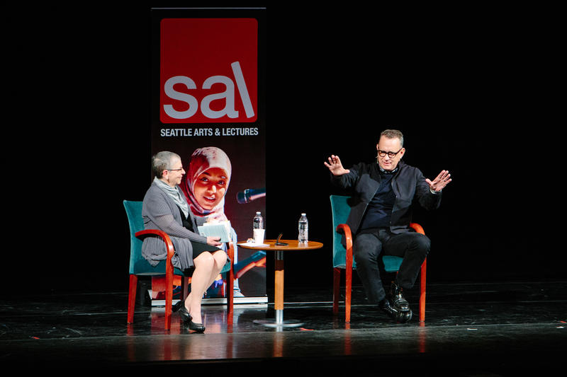 Nancy Pearl and Tom Hanks on stage at McCaw Hall