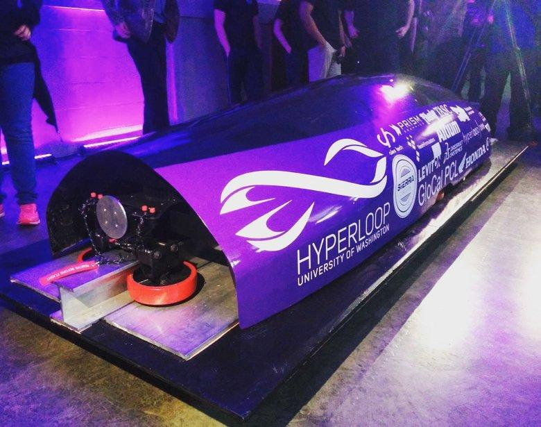The Hyperloop pod built by the University of Washington Hyperloop team for the 2017 SpaceX competition