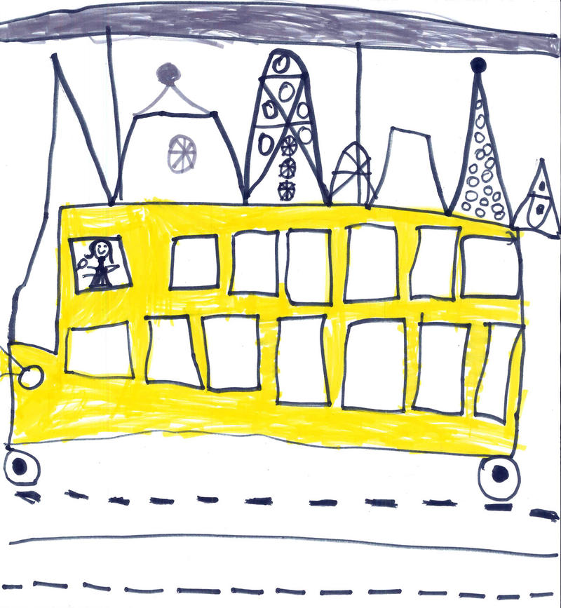 """This is a drawing of a bus that runs on electricity. More people will take the bus."""