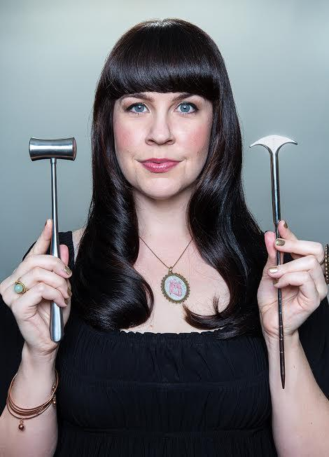 Mortician Caitlin Doughty, with some tools of the trade.