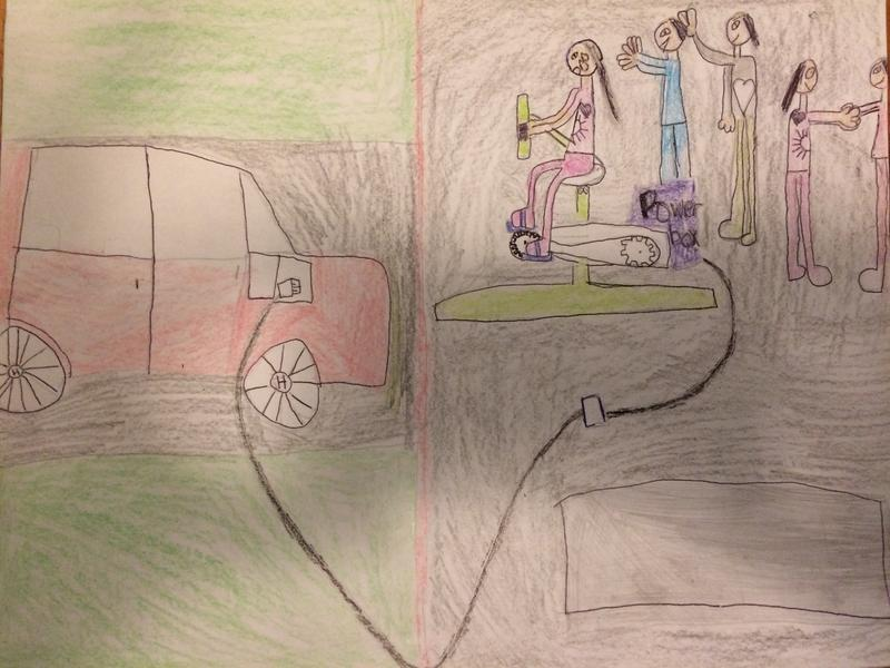 Alexis, 7, drew an electric car powered by an exercise bike.