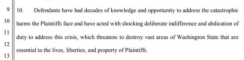 An excerpt of the young plaintiffs' lawsuit against the state of Washington