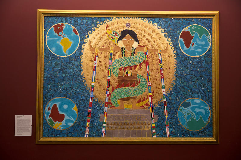 A painting by Ari Glass called Liberated Wisdom is on display on Friday, Feb. 2, 2018, at Pacific Medical Center in Seattle.