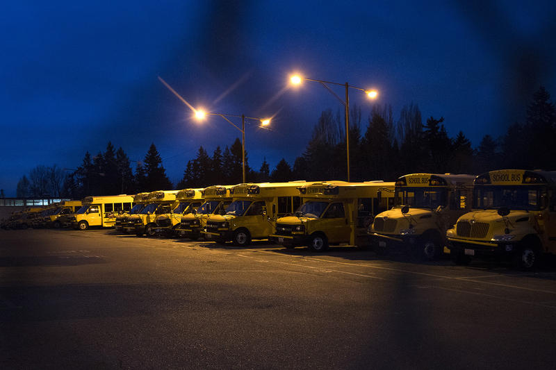 Buses are lined up inside the First Student bus lot on Lake City Way Northeast on Thursday, Feb. 1, 2018, in Seattle.