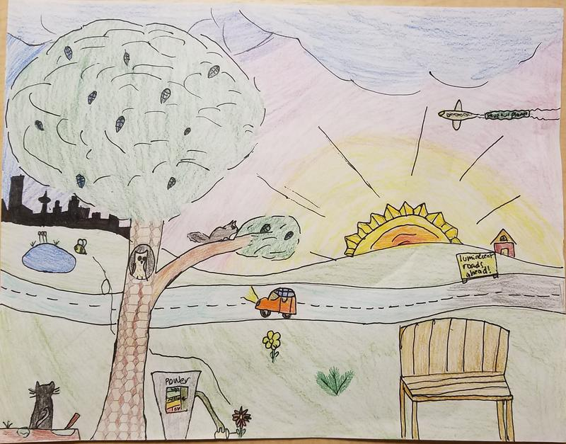 Madeline, age 11, writes: . The picture also shows a trashcan that incinerates trash and uses it for fuel to operate its robotic arm. The arm can automatically collect more trash.