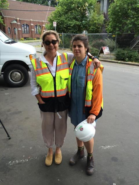 Frances McCue and daughter Maddy Greaves witnessed the demolition of their former home, Richard Hugo House in 2016.
