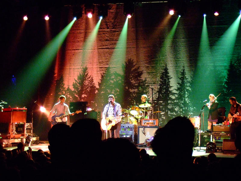 The Decemberists performing as a folk/rock band in 2011.