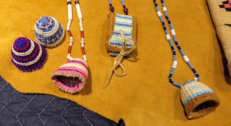 Yakama weavers traditionally use corn husks. Beginners start with yarn.