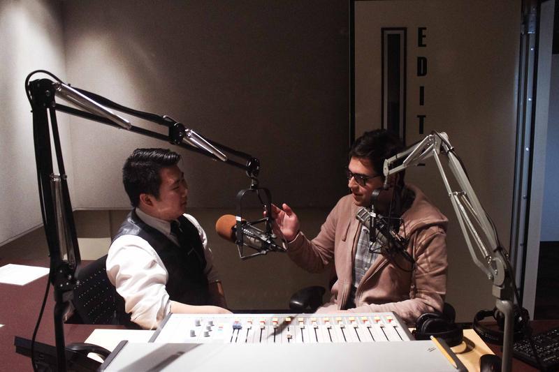 Hosts Brian Freeland and Diego Villarroel in the studio.