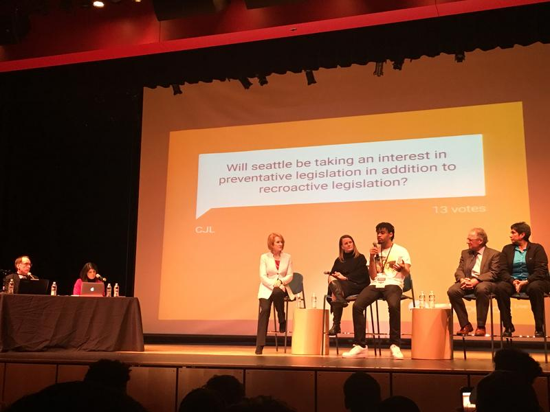 Rainier Beach High School student Gregory Miles Pleasant talked about school safety during the public forum.