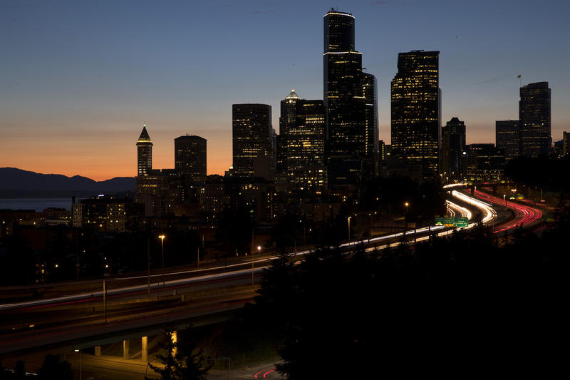 Traffic in downtown Seattle is shown on Monday, July 17, 2017, from Rizal Park.