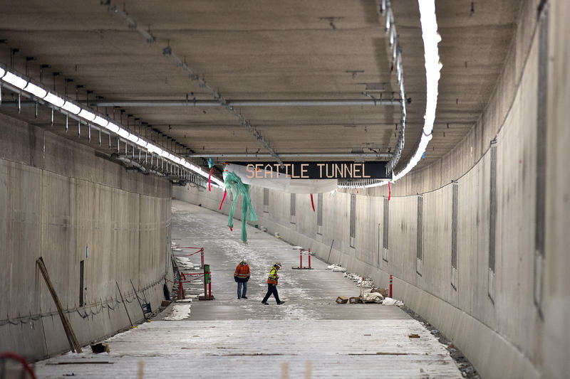 The northbound lanes of the SR 99 tunnel are shown on Tuesday, March 27, 2018, in Seattle.