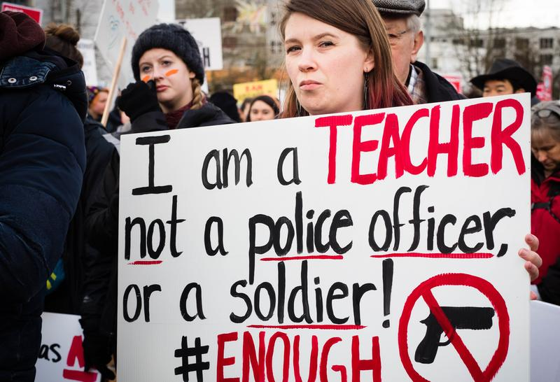 Teacher at Cal Anderson Park march