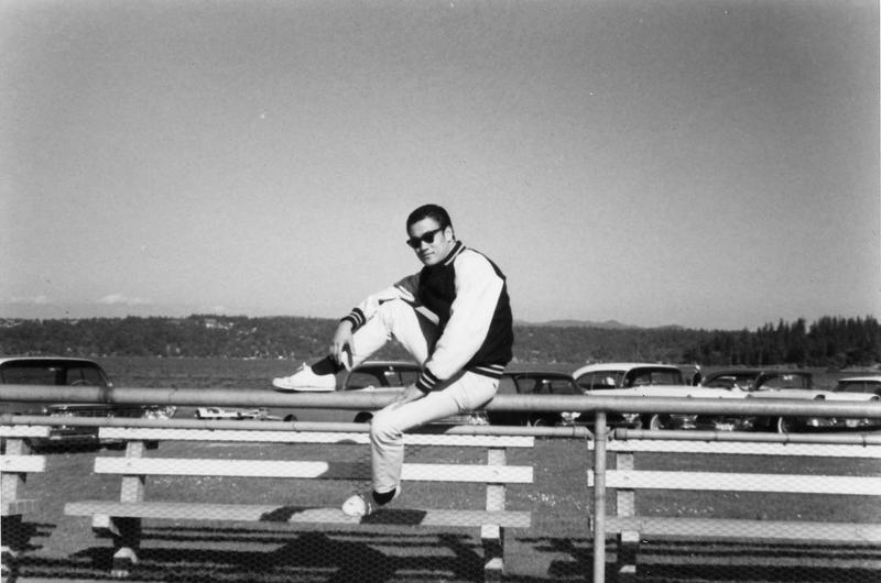 Bruce Lee spent formative years in Seattle. He attended the University of Washington from 1961 to 1964, majoring in philosophy. Behind him is Lake Washington, the subject of many of his poems.