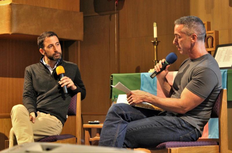 Eli J. Finkel and Dan Savage at University Temple United Methodist Church